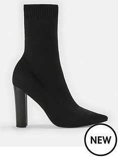 missguided-missguided-stacked-heel-knitted-pointed-toe-ankle-boot-blacknbsp