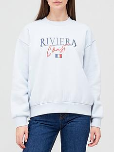 v-by-very-front-print-riviera-coast-crew-neck-sweat-blue-marlnbsp