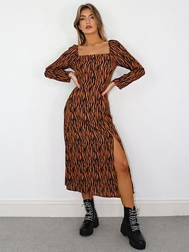 missguided-missguided-square-neck-midi-dress-rust