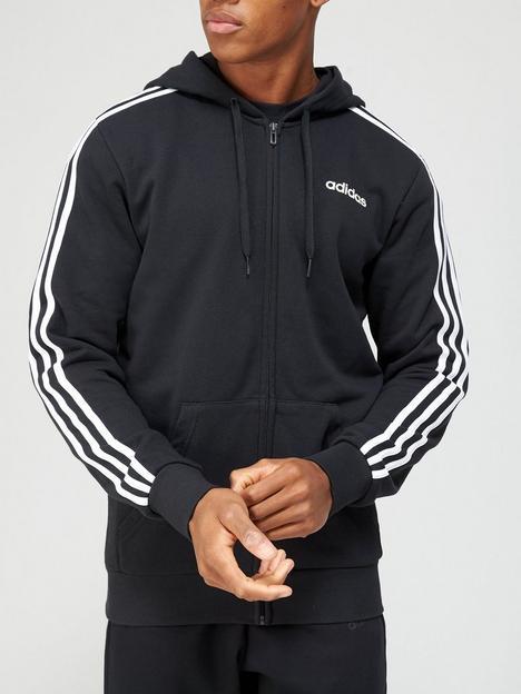 adidas-essentials-3-stripe-full-zip-black