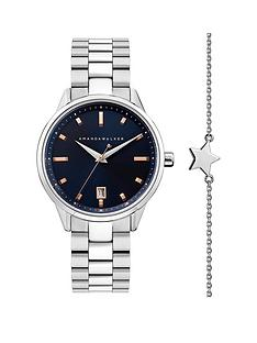 amanda-walker-amanda-walker-navy-and-rose-gold-detail-date-dial-stainless-steel-bracelet-ladies-watch-and-star-bracelet-gift-set