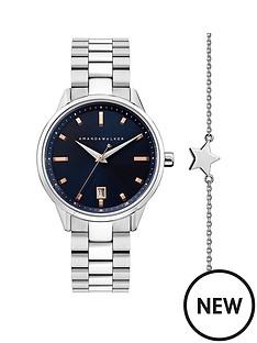 amanda-walker-amanda-walker-navy-and-rose-gold-detail-date-dial-stainless-steel-bracelet-ladies-watch-and-star-bracelet-gift-set