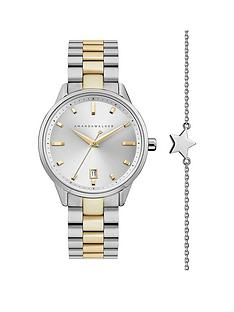 amanda-walker-amanda-walker-silver-and-gold-detail-date-dial-two-tone-stainless-steel-bracelet-ladies-watch-and-star-bracelet-gift-set
