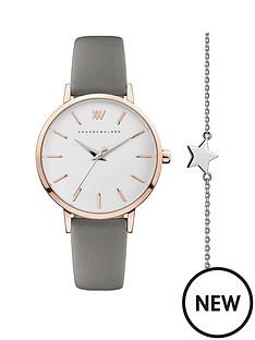 amanda-walker-amanda-walker-white-and-rose-gold-detail-dial-grey-leather-strap-ladies-watch-and-star-bracelet-gift-set