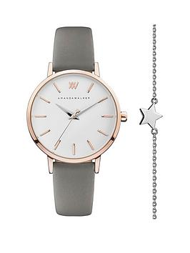 amanda-walker-amanda-walker-white-and-rose-gold-detail-dial-grey-leather-strap-ladies-watch-and-star-bracelet-gift-set
