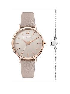 amanda-walker-amanda-walker-kate-blush-and-rose-gold-detail-dial-blush-leather-strap-ladies-watch-and-star-bracelet-gift-set