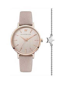 amanda-walker-amanda-walker-kate-blush-and-rose-gold-detail-dial-blush-leather-strap-ladies-watch-and-star-bracelet-gift-set