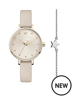 amanda-walker-amanda-walker-florence-champagne-gold-sunray-dial-nude-leather-strap-ladies-watch-and-star-bracelet-gift-set