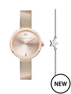 amanda-walker-amanda-walker-rose-gold-dial-rose-gold-stainless-steel-mesh-strap-ladies-watch-and-star-bracelet-gift-set