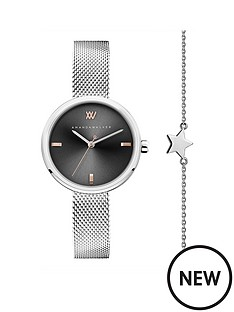 amanda-walker-amanda-walker-grey-and-rose-gold-detail-dial-stainless-steel-mesh-strap-ladies-watch-and-star-bracelet-gift-set