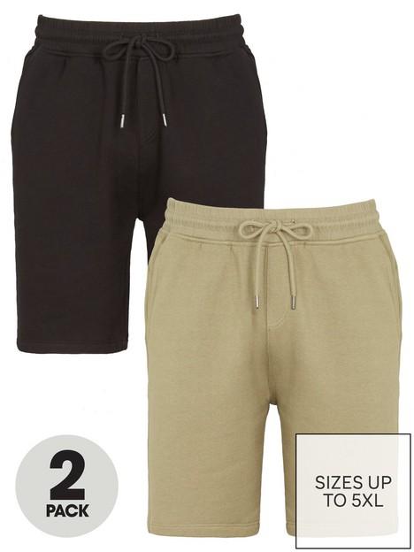 very-man-essential-jog-short-2-pack-khakiblacknbsp