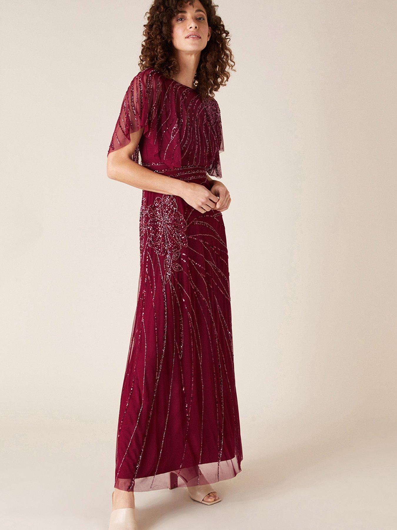 Monsoon Florence Embellished Maxi Dress - Red