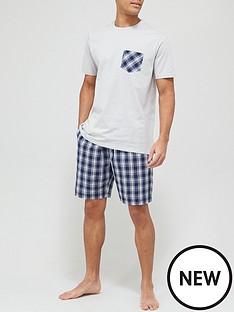 very-man-jersey-top-check-bottom-shorty-pj-set-greynavy
