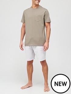 very-man-jersey-top-stripe-bottom-shorty-pj-set-khakigrey