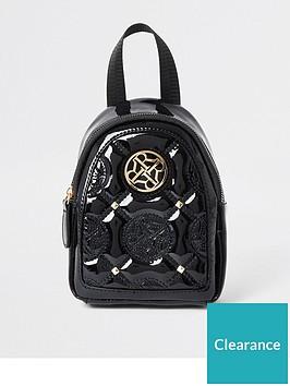 river-island-girls-embossed-patent-mini-backpack-black