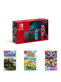 nintendo-switch-nintendo-switch-neon-11-with-animal-crossing-new-horizon-minecraft-mario-kart-8-deluxe