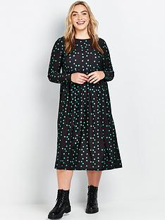 evans-green-spot-midi-jersey-dress-black