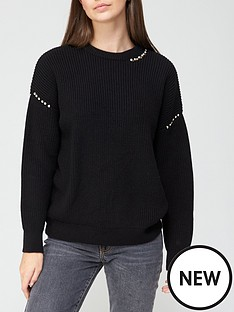 v-by-very-crew-neck-silver-pearl-detail-knitted-jumper