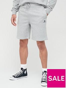 converse-embroidered-star-chevron-fleece-shorts-grey