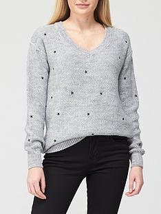 v-by-very-v-neck-textured-star-embroidered-knitted-jumper-grey