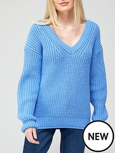 v-by-very-v-neck-chunky-knit-rolled-trim-knitted-jumper-bluenbsp