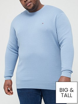 tommy-hilfiger-big-amp-tall-fine-zig-zag-stripe-crew-neck-knitted-jumper-denim-bluenbsp