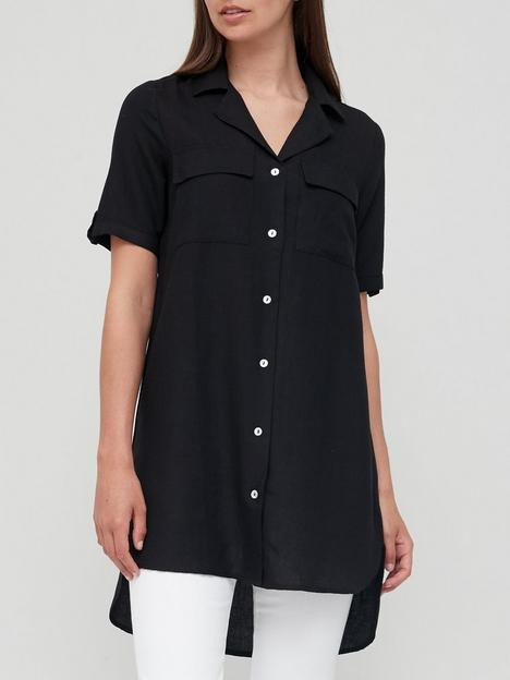 v-by-very-linen-mix-longline-tunic-shirt-black