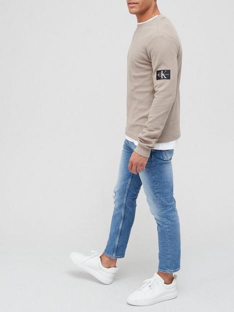 calvin-klein-jeans-monogram-badge-waffle-long-sleeve-t-shirt-stone
