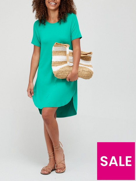 v-by-very-jersey-cowl-back-t-shirt-dress-green