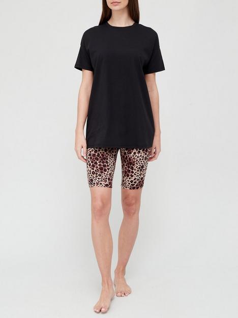 v-by-very-cycling-shorts-and-t-shirt-pyjamas-blackanimal-print