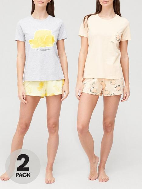 v-by-very-value-2-pack-fruit-slogan-shorts-pyjamas-print