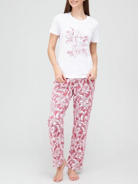 v-by-very-palm-slogan-pyjamas-print