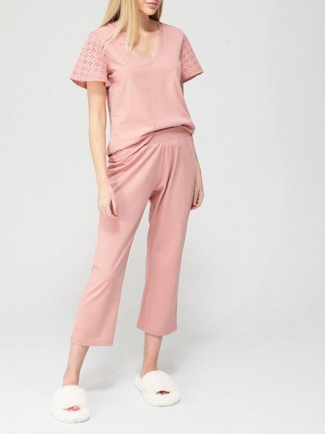 v-by-very-broderie-trim-pyjamas-blush