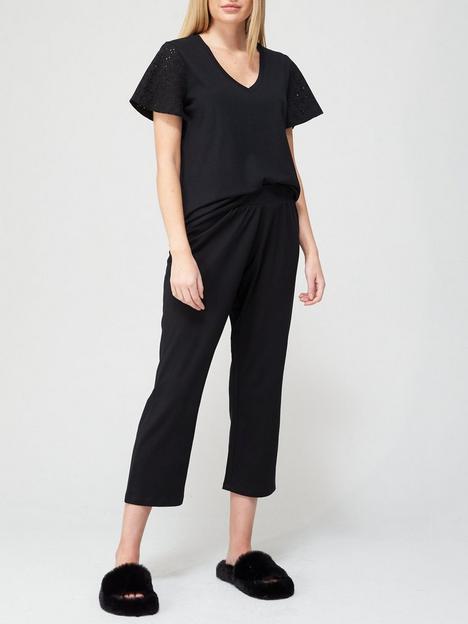 v-by-very-broiderie-trim-pyjamas-black