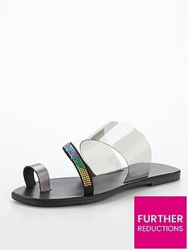 kurt-geiger-london-dawn-rainbow-flat-sandal--nbspblack