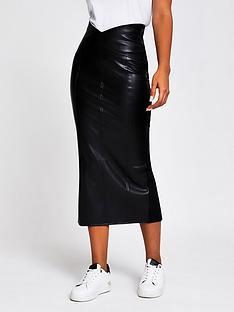 river-island-high-waist-pu-ponte-hybrid-pencil-skirt-black