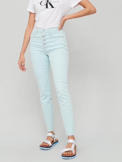 calvin-klein-jeans-high-rise-skinnynbspjean-light-greennbsp