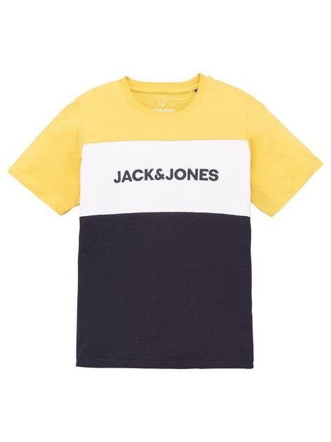 jack-jones-junior-boys-essential-colour-block-logo-short-sleeve-t-shirt-yolk-yellow