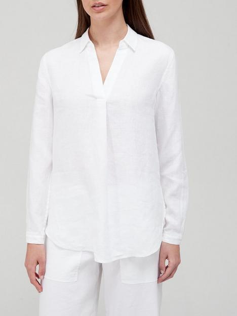 calvin-klein-linen-open-neck-shirt-white