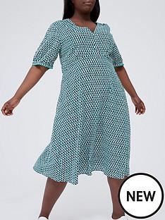 tommy-hilfiger-curve-printed-v-neck-midi-dress-turquoise
