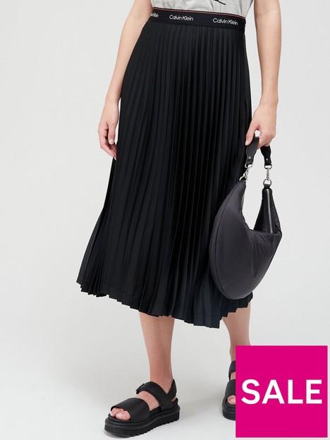 calvin-klein-logo-waistband-pleated-skirt-black