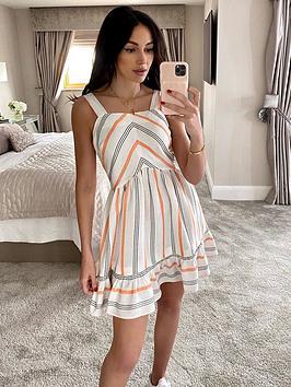 michelle-keegan-swing-casual-dress-stripe