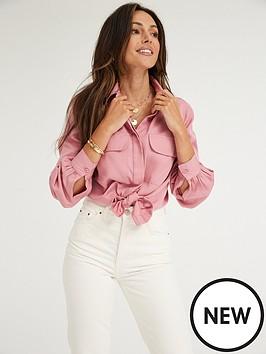 michelle-keegan-utility-casualnbspshirt-soft-pink