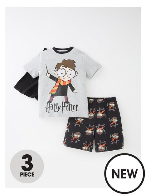 harry-potter-boys-harry-potter-3-piece-cape-shorty-pyjamas-grey