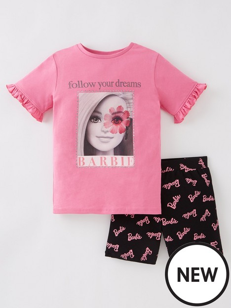 barbie-girlsnbsp2-piece-follow-your-dreams-t-shirt-and-cycling-short-set-pinknbsp