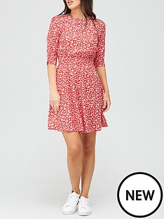 v-by-very-printed-round-neck-shirred-waist-mini-dress-floral