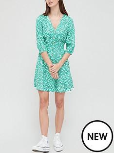 v-by-very-button-through-three-quarter-sleeve-mini-dress-green-print