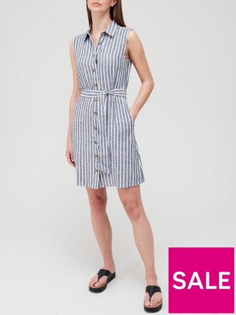 v-by-very-linen-button-through-shirt-mini-dress-blue-stripe