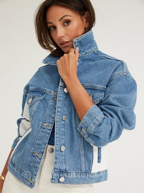 michelle-keegan-colour-block-denim-jacket-blue