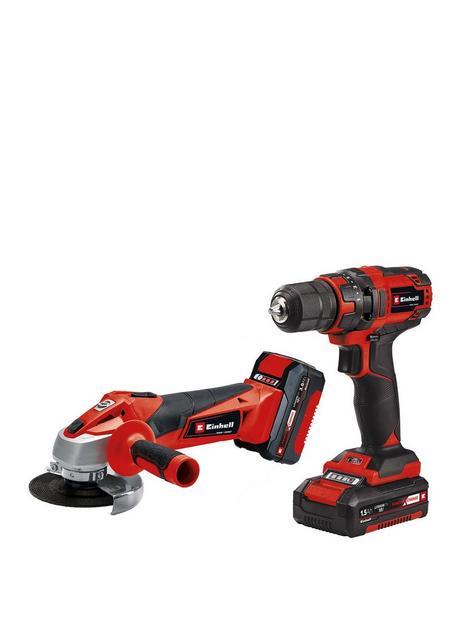einhell-einhell-power-x-change-classic-18v-drill-driver-angle-grinder-kit-1-x-15ah-1-x-30ah